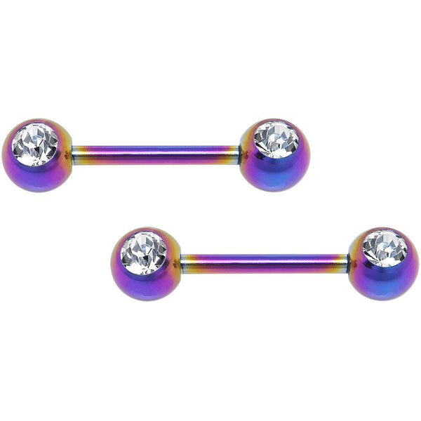 Front Gem Rainbow Anodized Titanium Nipple Barbell Set