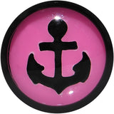 Black Pink Acrylic Set Sail Nautical Anchor Cheater Plug