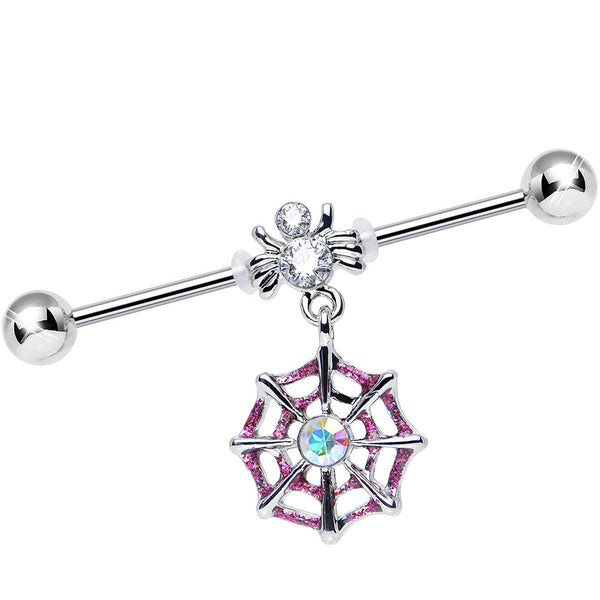 Clear Gem Spider and Aurora Pink Web Dangle Industrial Barbell