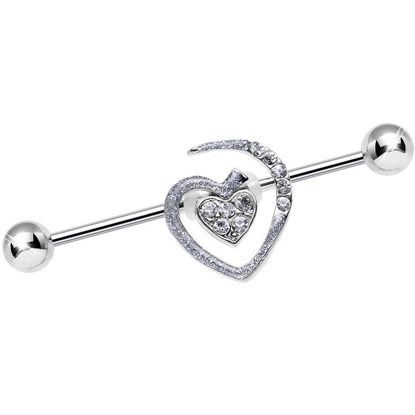 Clear Gem Heart to Heart Industrial Barbell