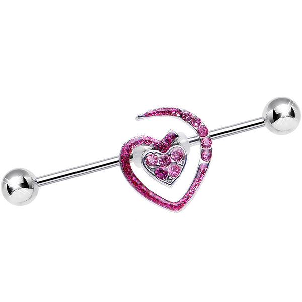 Pink Gem Heart to Heart Industrial Barbell