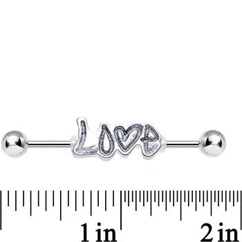 Silver Glitter Heart Full of Love Industrial Barbell