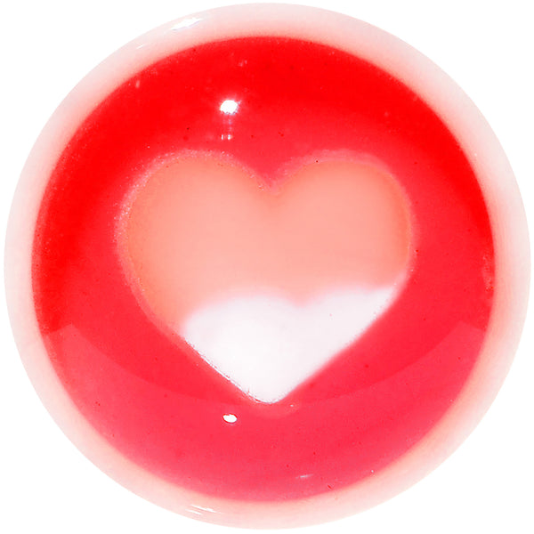 2 Gauge White Red Acrylic Adoring Heart Saddle Plug