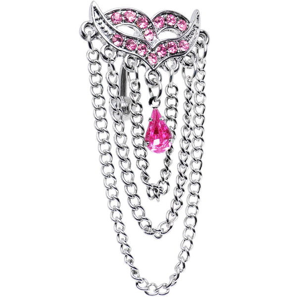 Pink Cubic Zirconia Exotic Masquerade Mask Top Mount Belly Ring
