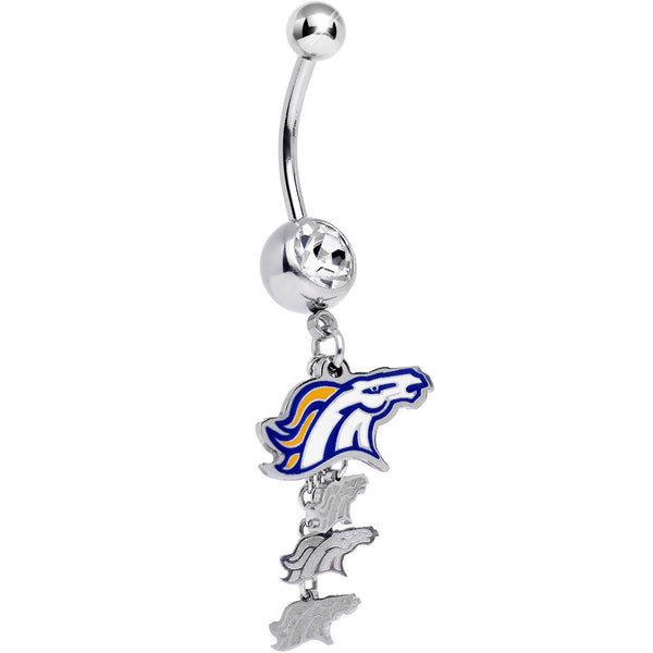 Officially Licensed NFL Clear Gem Denver Broncos Dangle Belly Ring