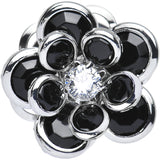00 Gauge Black Blooming Glam Gardenia Steel Plug