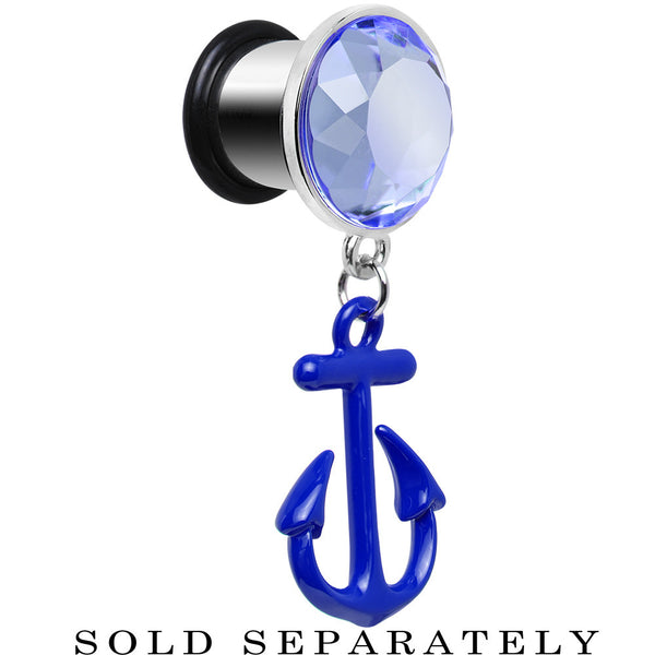 00 Gauge Blue Dangling Anchor Steel Plug