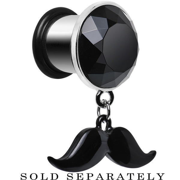 00 Gauge Black Dangling Mustache Steel Plug
