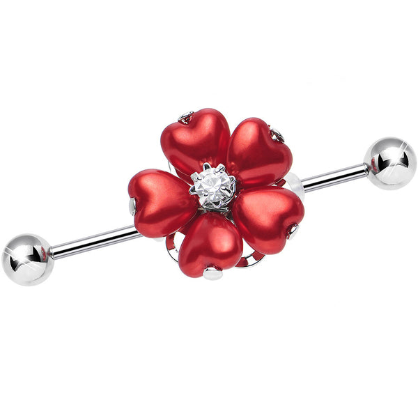 Red Faux Pearl Blossoming Flower of Hearts Industrial Barbell
