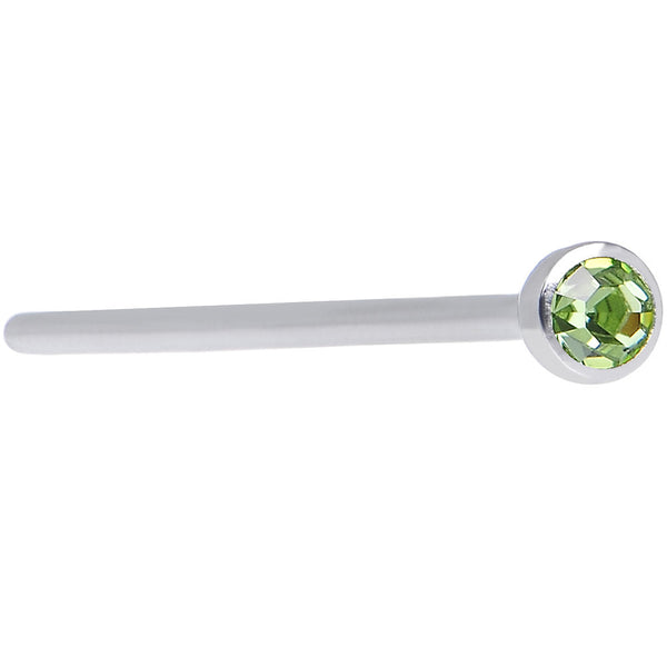 "20 Gauge 3/4"" Light Green CZ Steel Straight Fishtail Nose Ring 2mm"