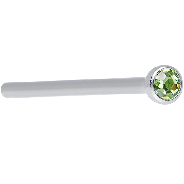 "18 Gauge 3/4"" Light Green CZ Steel Straight Fishtail Nose Ring 2mm"