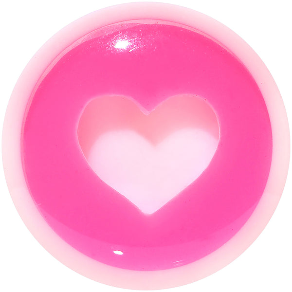 0 Gauge White Pink Acrylic Adoring Heart Saddle Plug