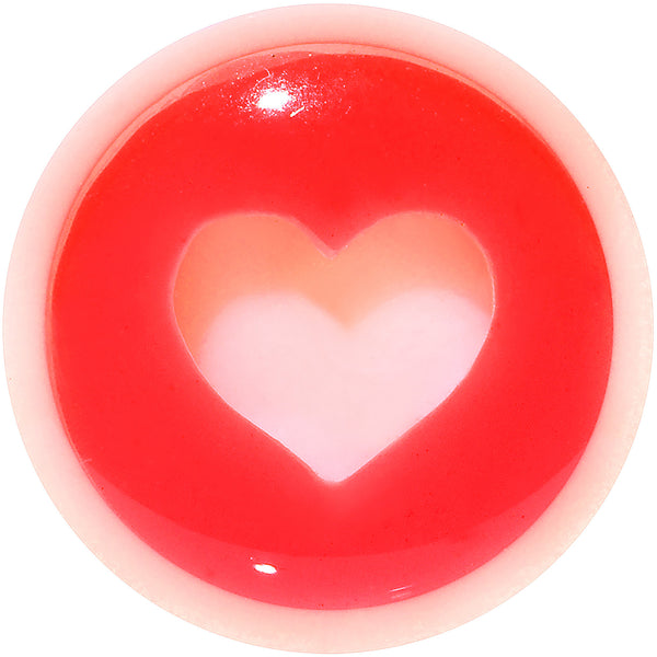 0 Gauge White Red Acrylic Adoring Heart Saddle Plug