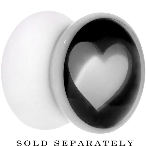 00 Gauge White Black Acrylic Adoring Heart Saddle Plug