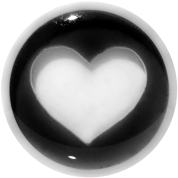 1/2 White Black Acrylic Adoring Heart Saddle Plug