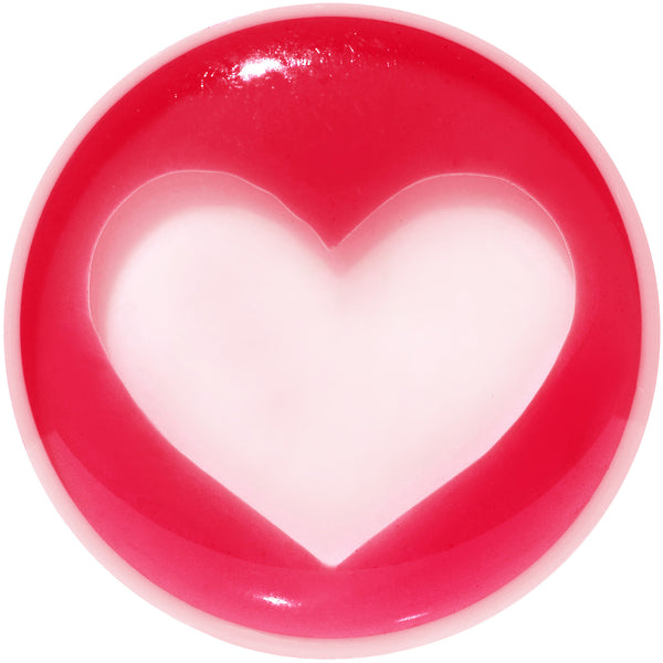 18mm White Red Acrylic Adoring Heart Saddle Plug