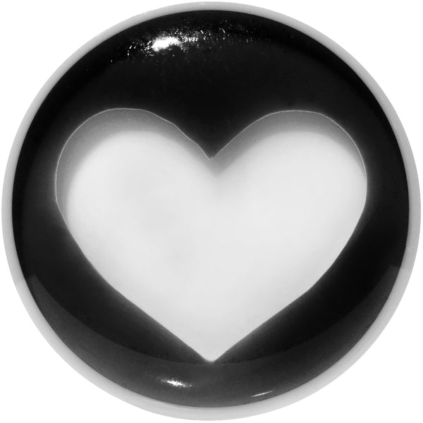 18mm White Black Acrylic Adoring Heart Saddle Plug