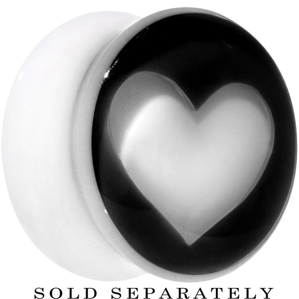 20mm White Black Acrylic Adoring Heart Saddle Plug