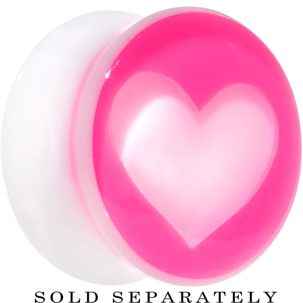 20mm White Pink Acrylic Adoring Heart Saddle Plug