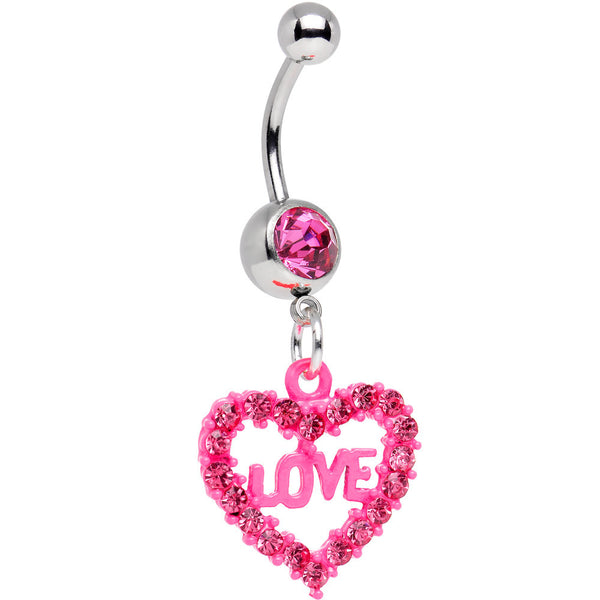 Pink Gem Sparkling Pink Heart Full of Love Dangle Belly Ring