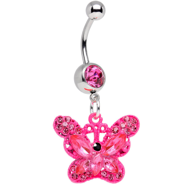 Pink Gem Passionately Pink Butterfly Dangle Belly Ring