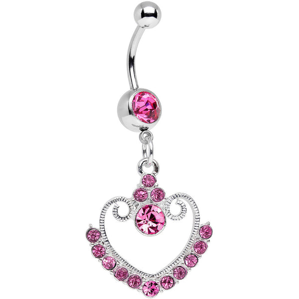 Pink Gem Ornate Hollow Heart Dangle Belly Ring