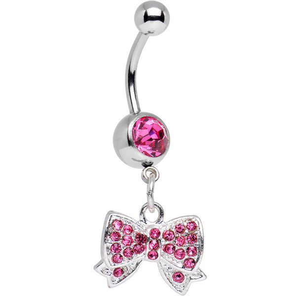 Pink Gem Bedecked Bow Tie Dangle Belly Ring
