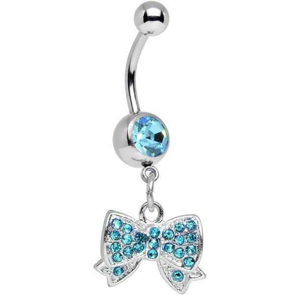 Aqua Gem Bedecked Bow Tie Dangle Belly Ring