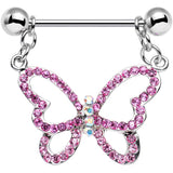 Pink Aurora Gem Twinkling Hollow Butterfly Dangle Nipple Ring