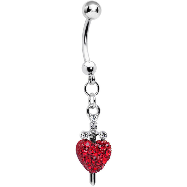 Sword and Red Gem Paved Red Heart Dangle Belly Ring