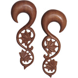 "1/2"" Organic Wood Climbing Lotus Flower Hand Carved Hanger Set"
