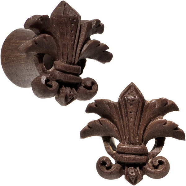 0 Gauge Organic Wood Fleur-De-Lis Hand Carved Plug Set