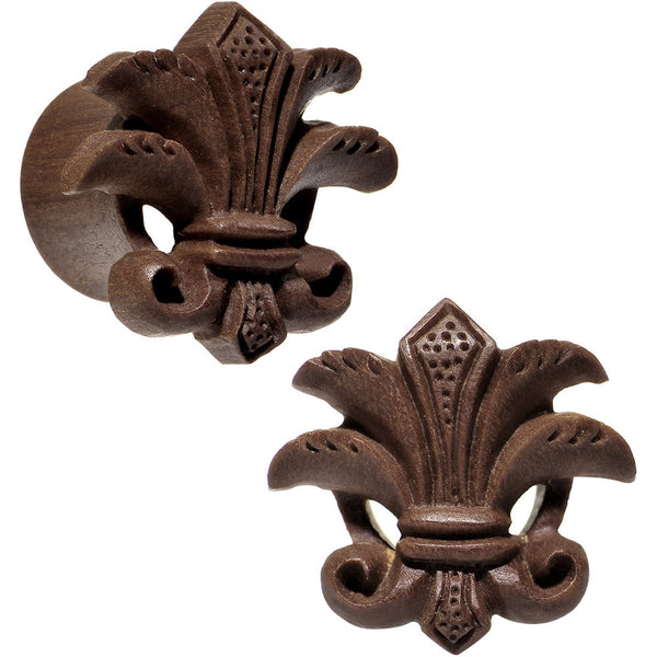 "5/8"" Organic Wood Fleur-De-Lis Hand Carved Plug Set"