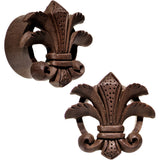 "7/8"" Organic Wood Fleur-De-Lis Hand Carved Plug Set"