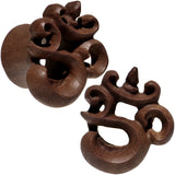 "5/8"" Organic Wood Om Hand Carved Plug Set"