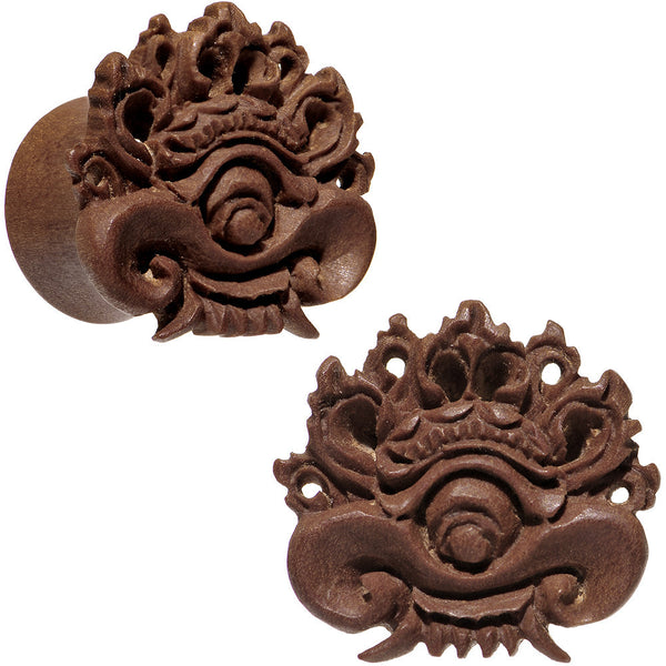 "9/16"" Organic Wood Dark Magic Hand Carved Plug Set"