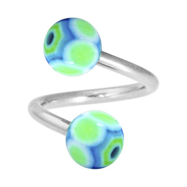 Lime Blue MARRACAS Spiral Twister Belly Ring