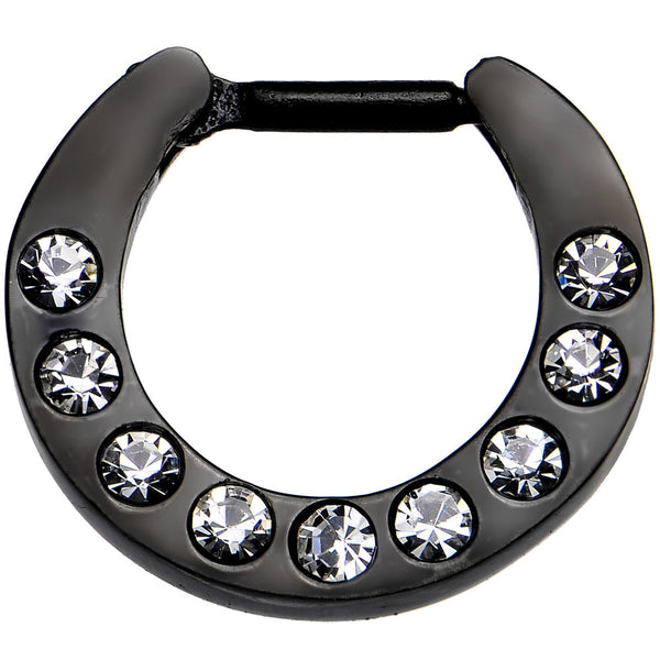 "16 Gauge 1/4"" Black IP Cubic Zirconia Septum Clicker"