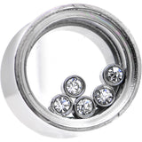 1/2 Moveable Clear Cubic Zirconia Stainless Steel Saddle Plug