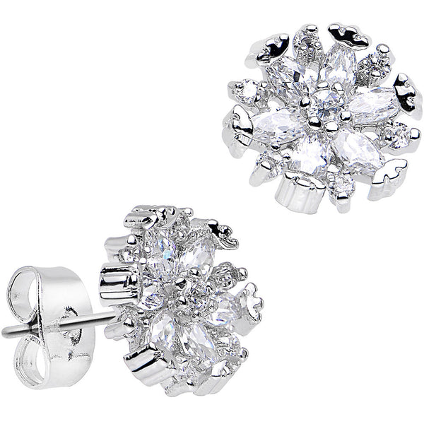 Clear Gem Dazzling Daisy Flower Stud Earrings