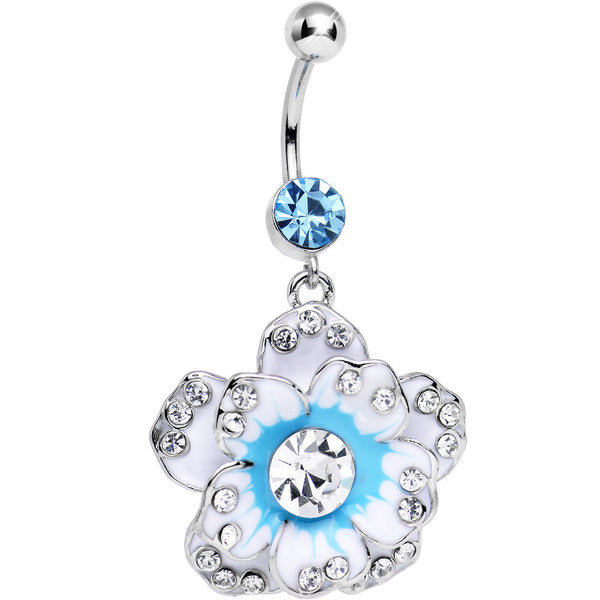 Blue Cubic Zirconia Copper Colored Petal Flower Belly Ring