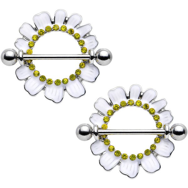 Yellow Gem Perky White Daisy Flower Nipple Shield Set