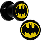 0 Gauge Black Acrylic Licensed Batman Logo Screw Fit Plug Set
