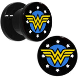 00 Gauge Black Acrylic Licensed Wonder Woman Logo Screw Fit Plug Set