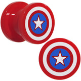 00 Gauge Red Acrylic Licensed Captain America Logo Screw Fit Plug Set