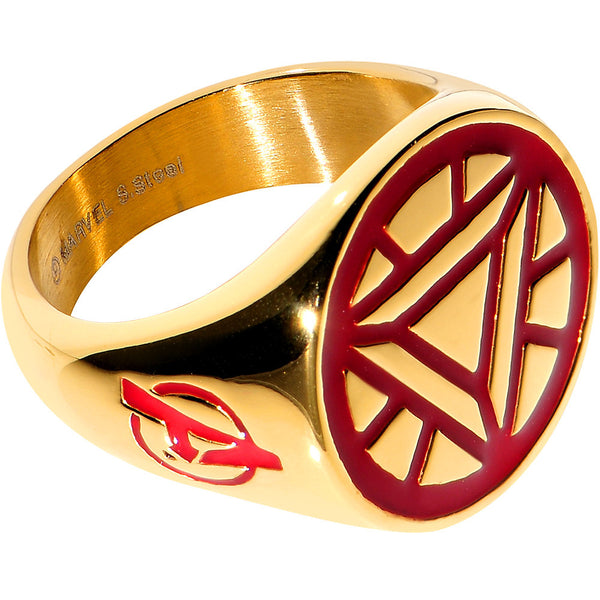 Officially Licensed Gold Plated Stainless Steel Iron Man Logo Ring