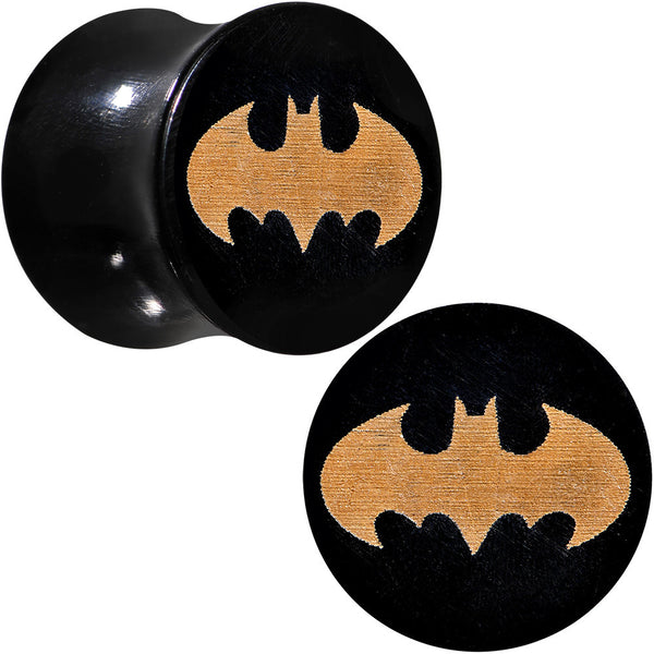 "1/2"" Organic Buffalo Horn Licensed Batman Logo Saddle Plug Set"