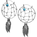 Blue Bead Dreamcatcher Tunnel Plug Earring Set