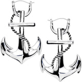 Gleaming Nautical Anchor Tunnel Plug Earring Set