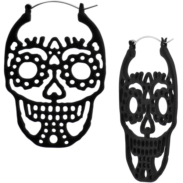 Black Sugar Skull Tunnel Plug Earring Set